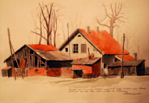 Seaside home near the Baltic sea. Watercolor, 2001.