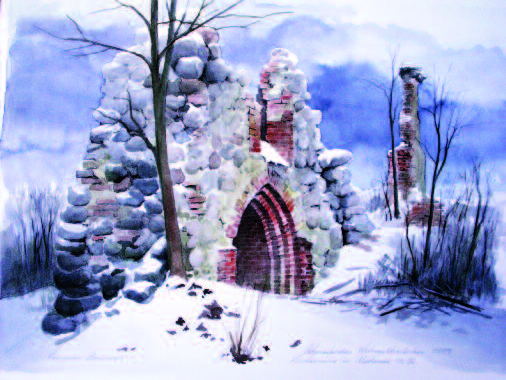 A Christmas tale. Ruins of a church in Medenau, East Prussia. Watercolor, 2009.