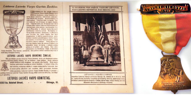 An appeal from the Lithuanian Liberty Bell Committee. Patrons contributing five dollars or more received a bronze medal replica of the bell. The center photograph shows Lithuania and Columbia flanking the newly cast Lithuanian Liberty Bell.