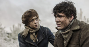 Actors Bel Powley as Lina Vilkas and Jonah Hauer-King as Andrius Aras in Ashes in the Snow.