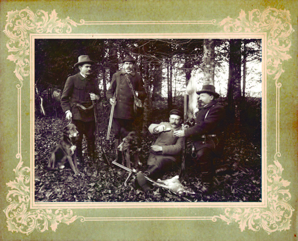 Squires of the local manor house in Kretinga relaxing after a successful hunt. (P. Mongirdaitė, Kretinga Museum)