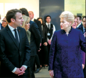 French President Emmanuel Macron and Lithuanian President Dalia Grybauskaitė at the opening of the Baltic art exhibit.