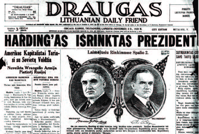 Here are two front pages of Draugas from November 3, 1920. The top is labelled (upper right) CITY EDITION and the bottom is labelled COUNTRY EDITION. They appear to be two completely different issues! The top is from the bound print archives in the Draugas publishing offices, whle the bottom image was from microfilm archived at the Center for Research Libraries.