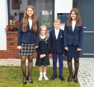 Back to school for the Gudynas children: (from l.) Danielė, Paulina, Karolis and Marija.