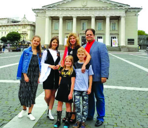 The Gudynas Family in Vilnius. From left: Danielė, Marija, Paulina, Karolis and parents Gintarija and Marijus.
