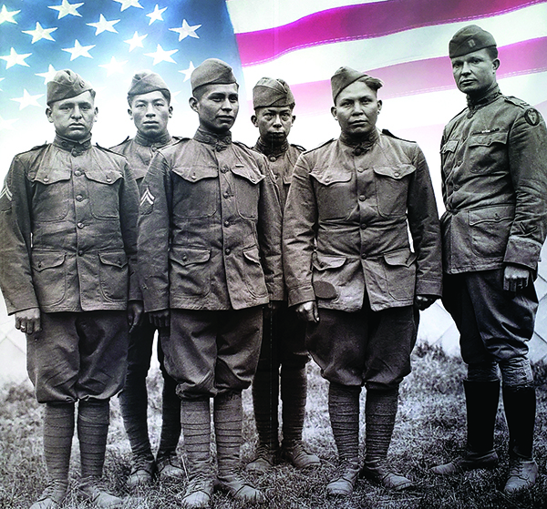 "100 years ago... Many Choctow men joined the American Expeditionary Forces (AEF) on the Western Front of World War I. They were called ""Warriors Armed with Words."" The Choctow language was used to send coded messages. Choctows handled field telephones, translated radio messages and wrote field orders carried by runners."