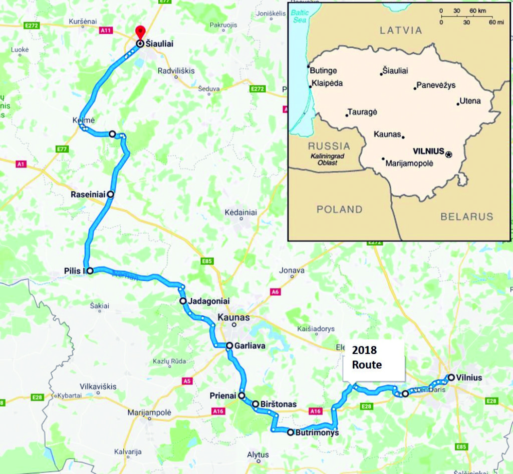 Bicycle route from Šiauliai to Vilnius.