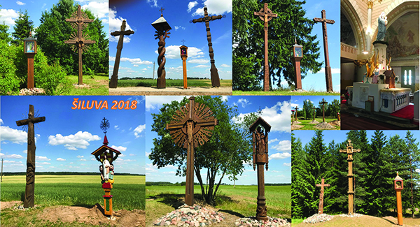 A collection of wayside crosses encountered on the road from Šiauliai to Vilnius.