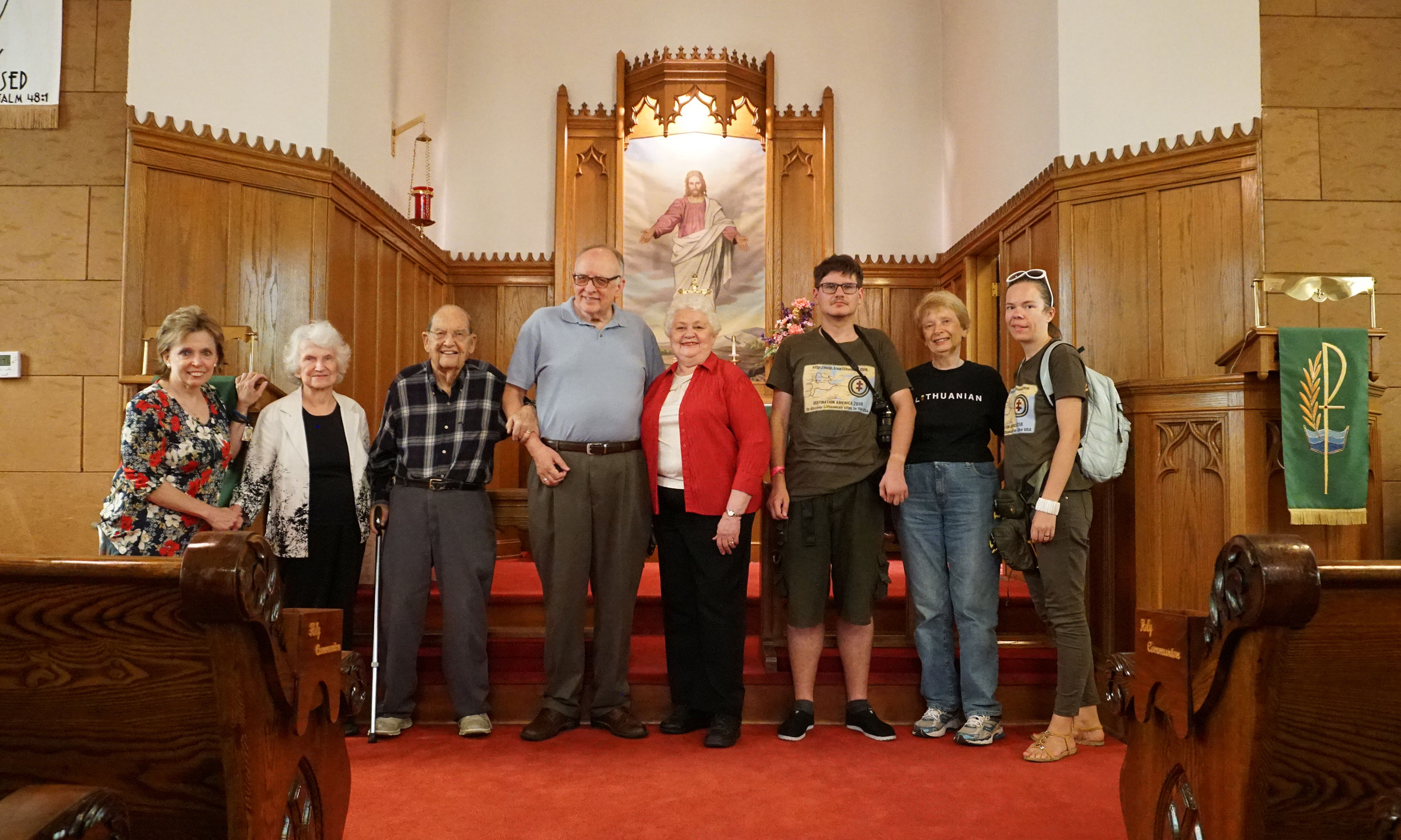 Heritage mappers meet with local Lithuanians at the Jerusalem Lutheran Church in Collinsville, Illinois. This is where Rep. John Shimkus' grandparents worshipped. From left: Loretta Grybinas-Goodin, Virginia Grybinas, Rev. Dr. Alvin V. Kollmann (retired pastor), Rev. Dr. Douglas A. Nicely (current pastor), Vicki Nicely, Augustinas Žemaitis, June Launhardt, and Aistė Žemaitienė. Photos by Sandra Baksys