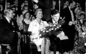 Opening of the Fifth Lithuanian Folk Dance Festival in Chicago,1976. From left: Senator Charles Percy, First Lady Betty Ford and Valdas Adamkus.