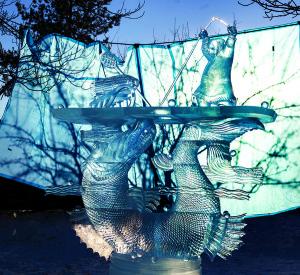 Rusų menininkų skulptūra - žvejo sėkmė