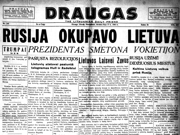 Russians occupy Lithuania. President Smetona to Germany. June 17, 1940