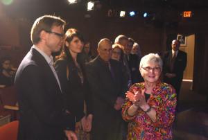 Ambasadorius R. Kriščiūnas, ambasados darbuotoja Evelina Petronė, Martin Goldman ir N. Wright Beasley.