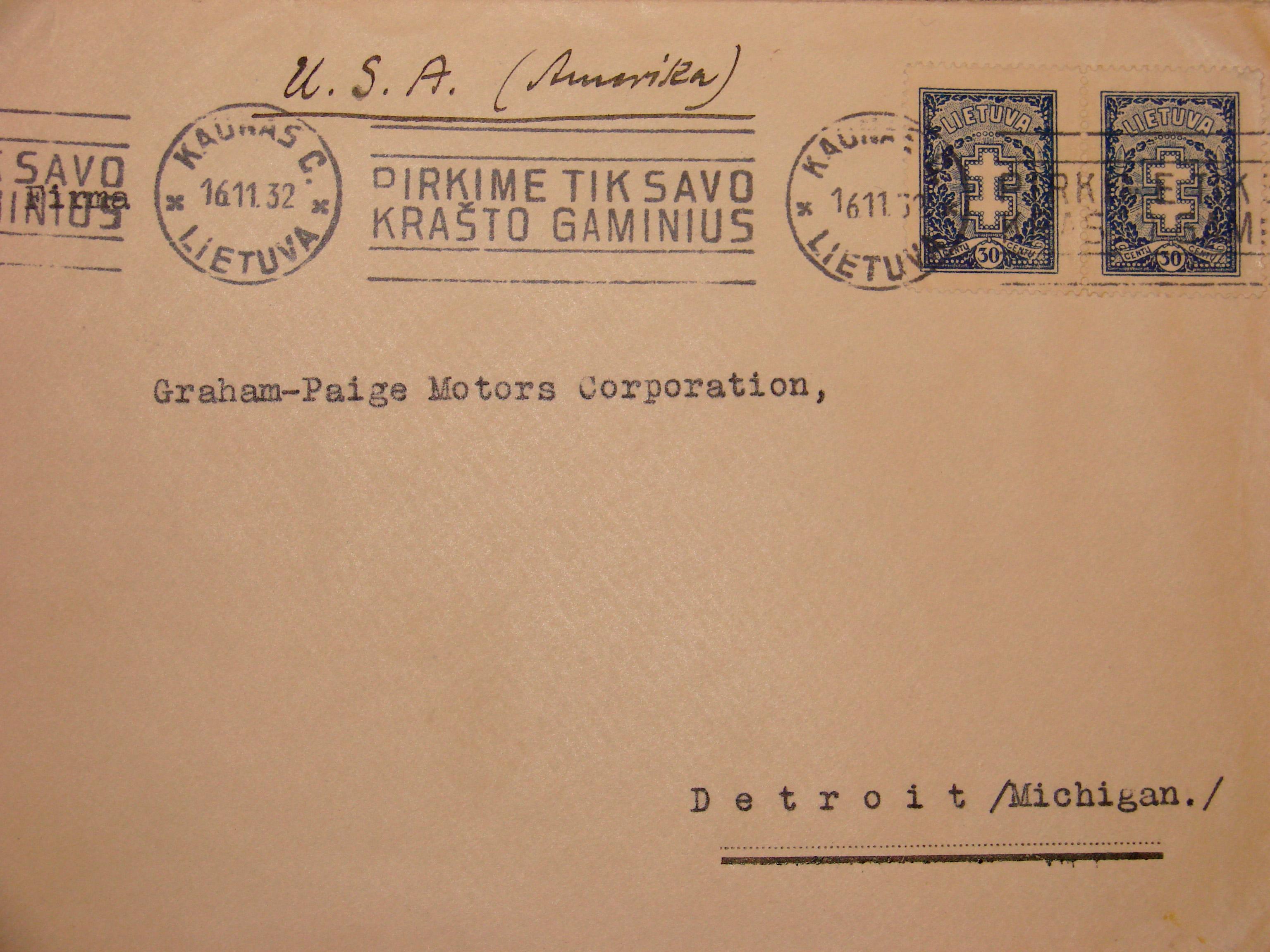 1932 m. pašto antspaudas.