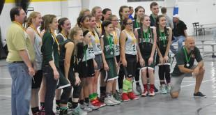 """Finale kovojusios ,,Žaibo"""" ir ,,Lituanicos"""" mergaičių komandos."""