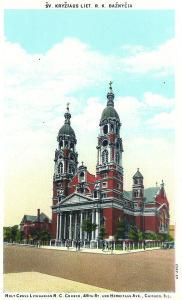 Švento kryžiaus bažnyčia – gražiausia lietuviška šventykla Čikagoje. 1935 m. atvirutė.
