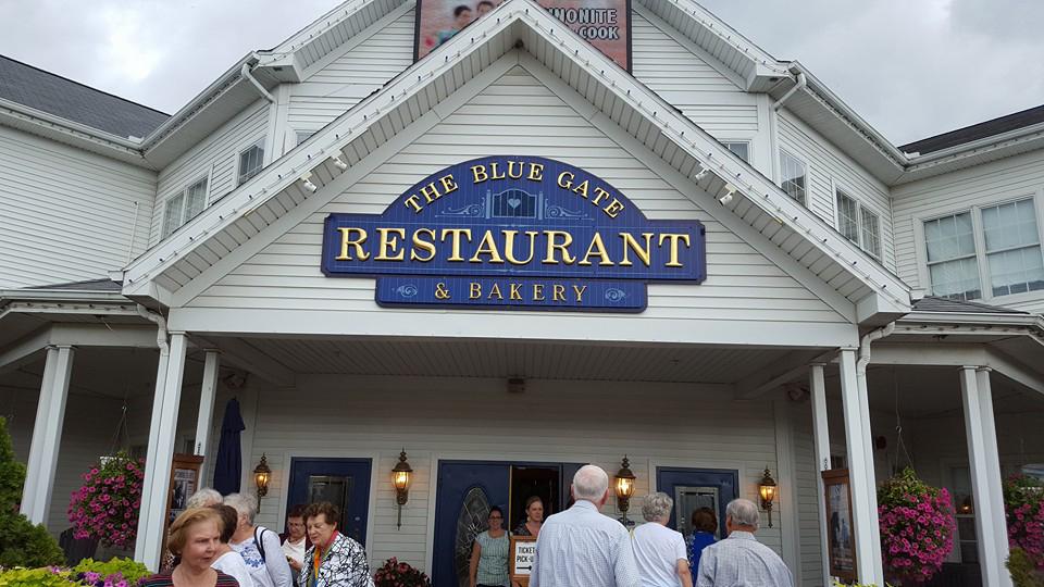 """Pietūs amišų restorane ,,The Blue Gate""""."""