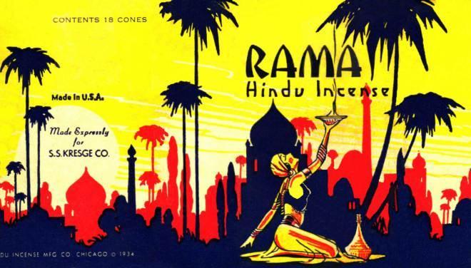 Hindu Incense – smilkalų pakuotė 1934 m.