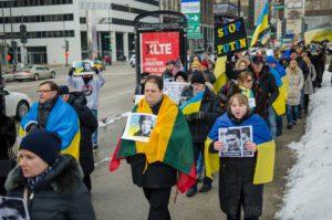 M. Gudynas viename iš Ukrainos palaikymo mitingų.