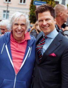 """Go Vilnius"" vadovas Darius Udrys (d.) su aktoriumi Henry Winkler."