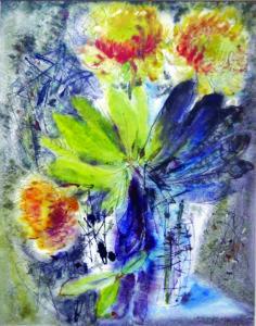 """Akvarelė """"Gėlės"""", 1954 m."""