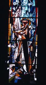 """Vitražas """"Šv Antanas"""", pranciškonų koplyčia Kennebunkport, ME."""