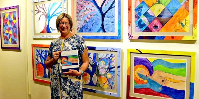 """Laima Vincė savo naująją knygą """"This is Not My Sky"""" ir meno kūrinių parodą pristatė jaukioje Maine valstijos galerijoje."""