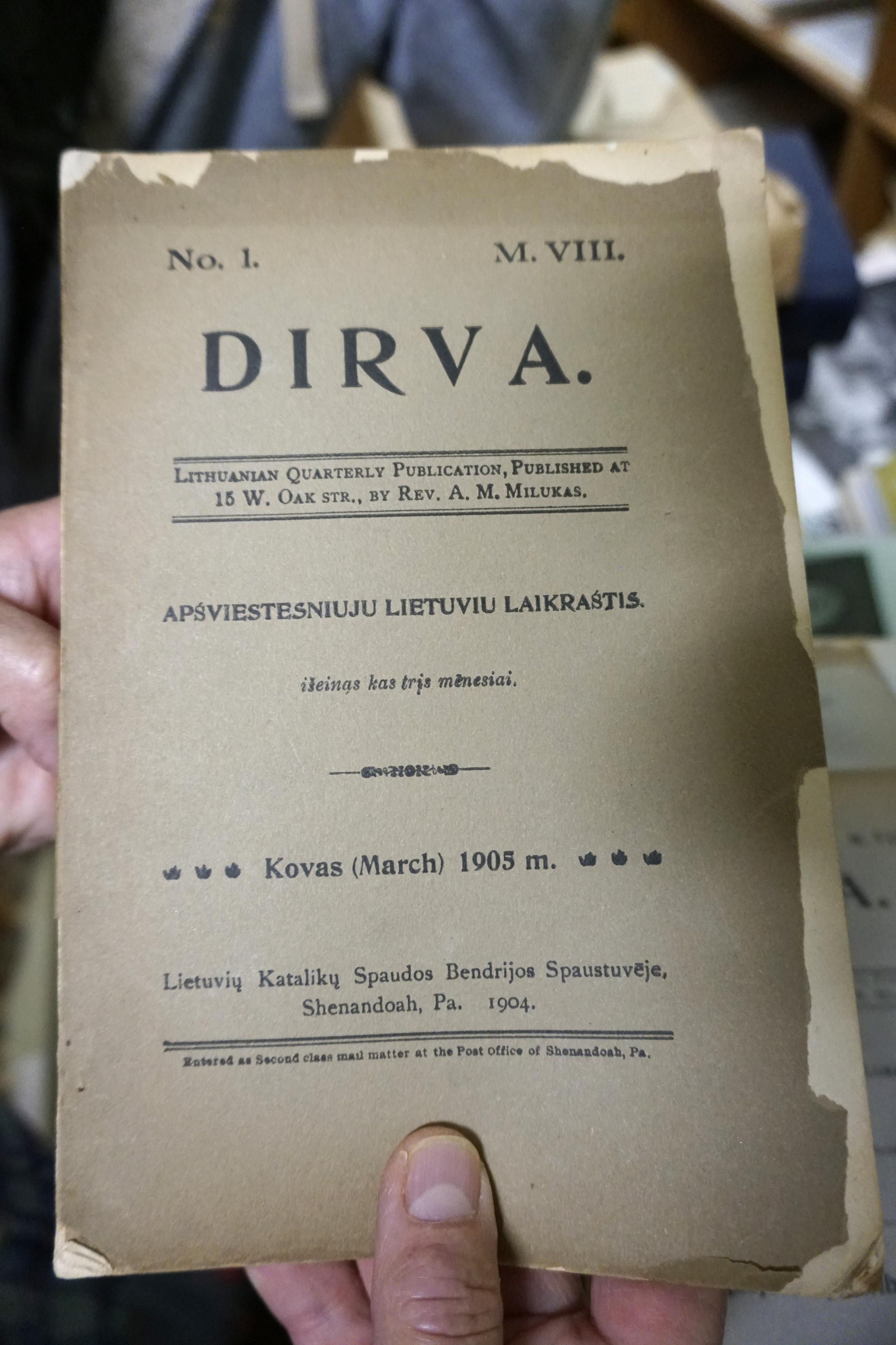 """ALKA laikomas pirmojo lietuviško romano – Vinco Pietario """"Algimantas"""" – originalas, išspausdintas """"Dirvoje"""""""