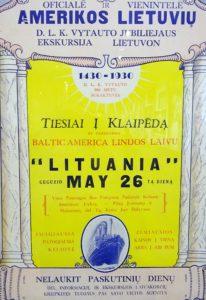 Plakatas reklamuojantis kelionę į Lietuvą.