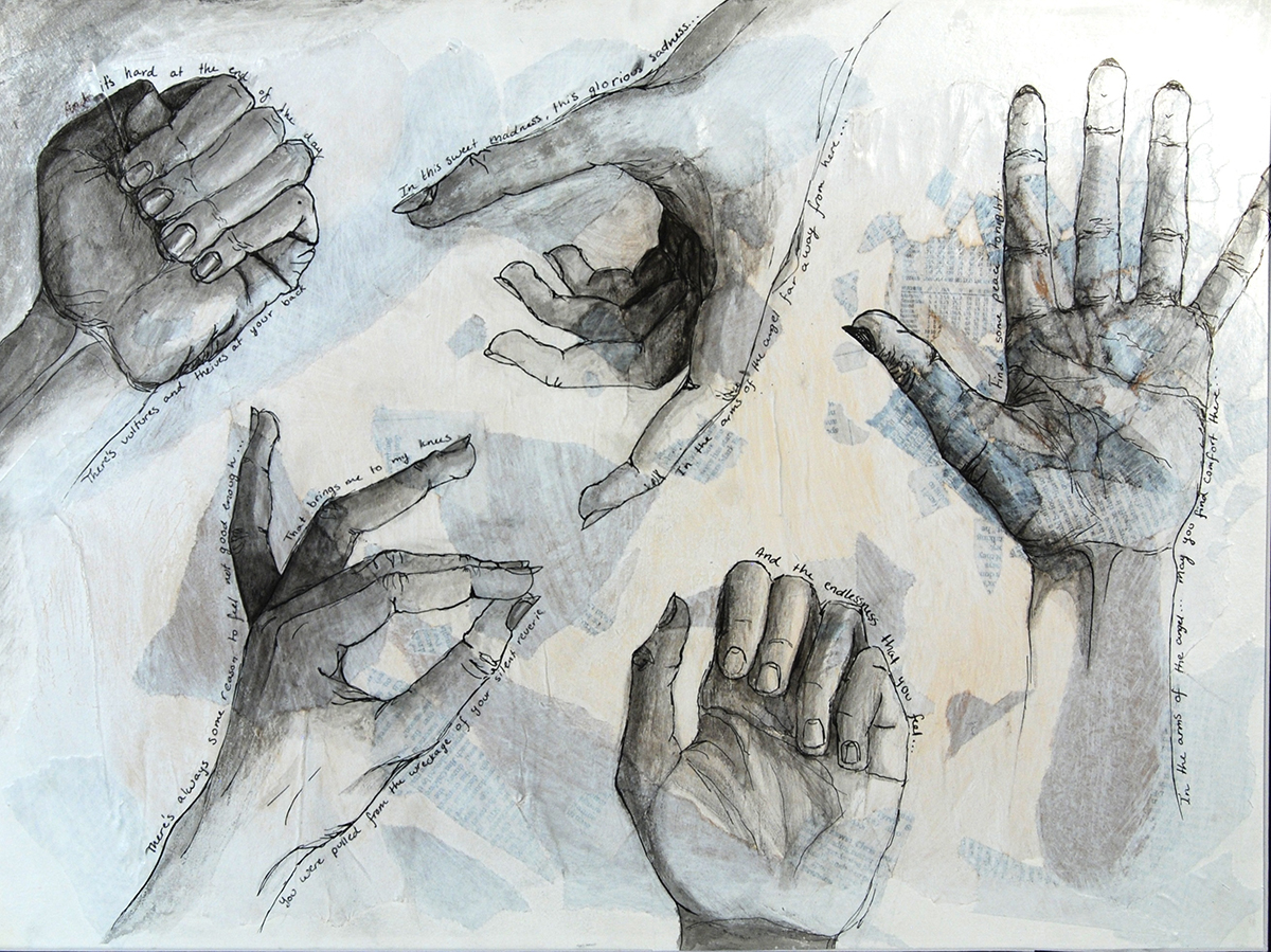 """Hands, mixed media""."