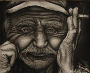 Nors pati jauna, Eglei patinka piešti senų žmonių portretus.