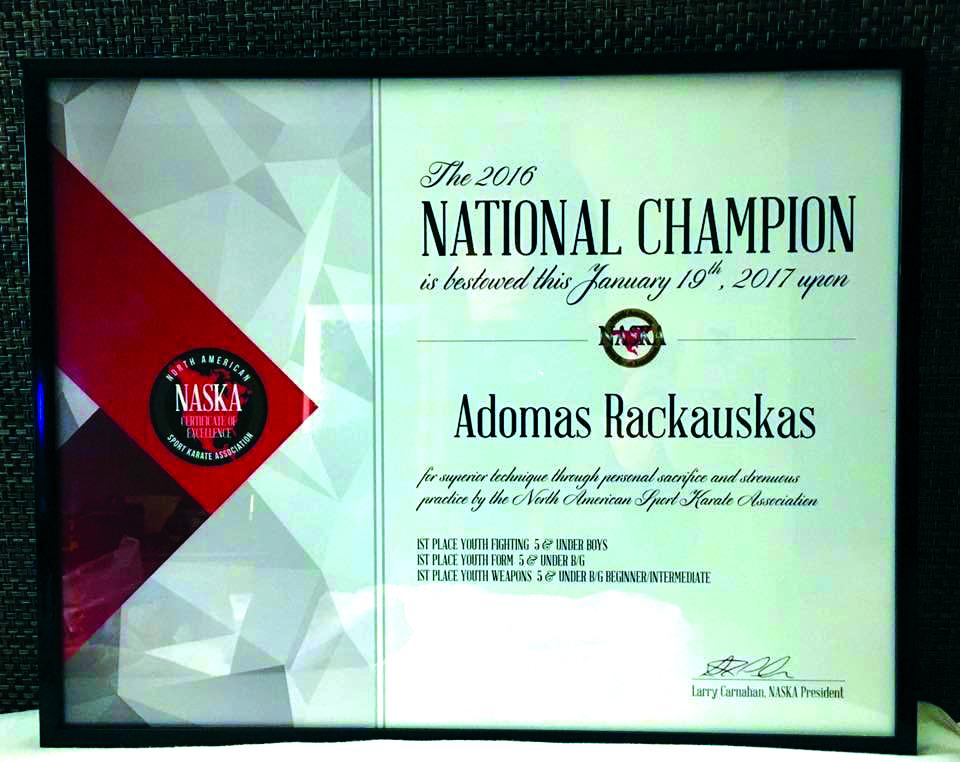 NASKA 2016 metų sertifikatas.
