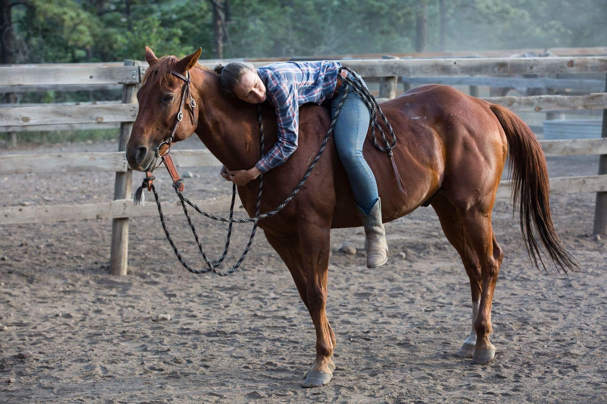 Eglė Filmonto skautų rančoje (Philmont Scout Ranch) Naujosios Meksikos valstijoje su žirgu Jimmy.