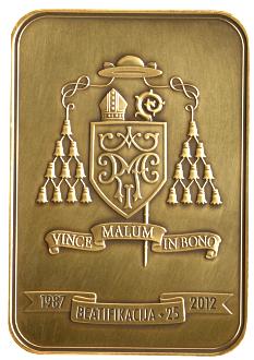 Plaketė, skirta Pal. Jurgio Matulaičio beatifikacijos 25-mečiui.
