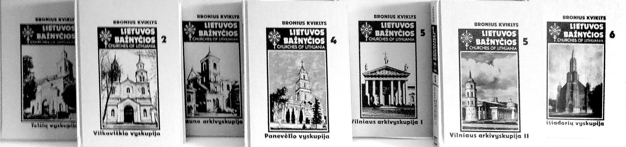 """Broniaus Kviklio """"Lietuvos bažnyčių"""" septyntomis, kurio dailininkas ir techninis redaktorius buvo P. Aleksa."""