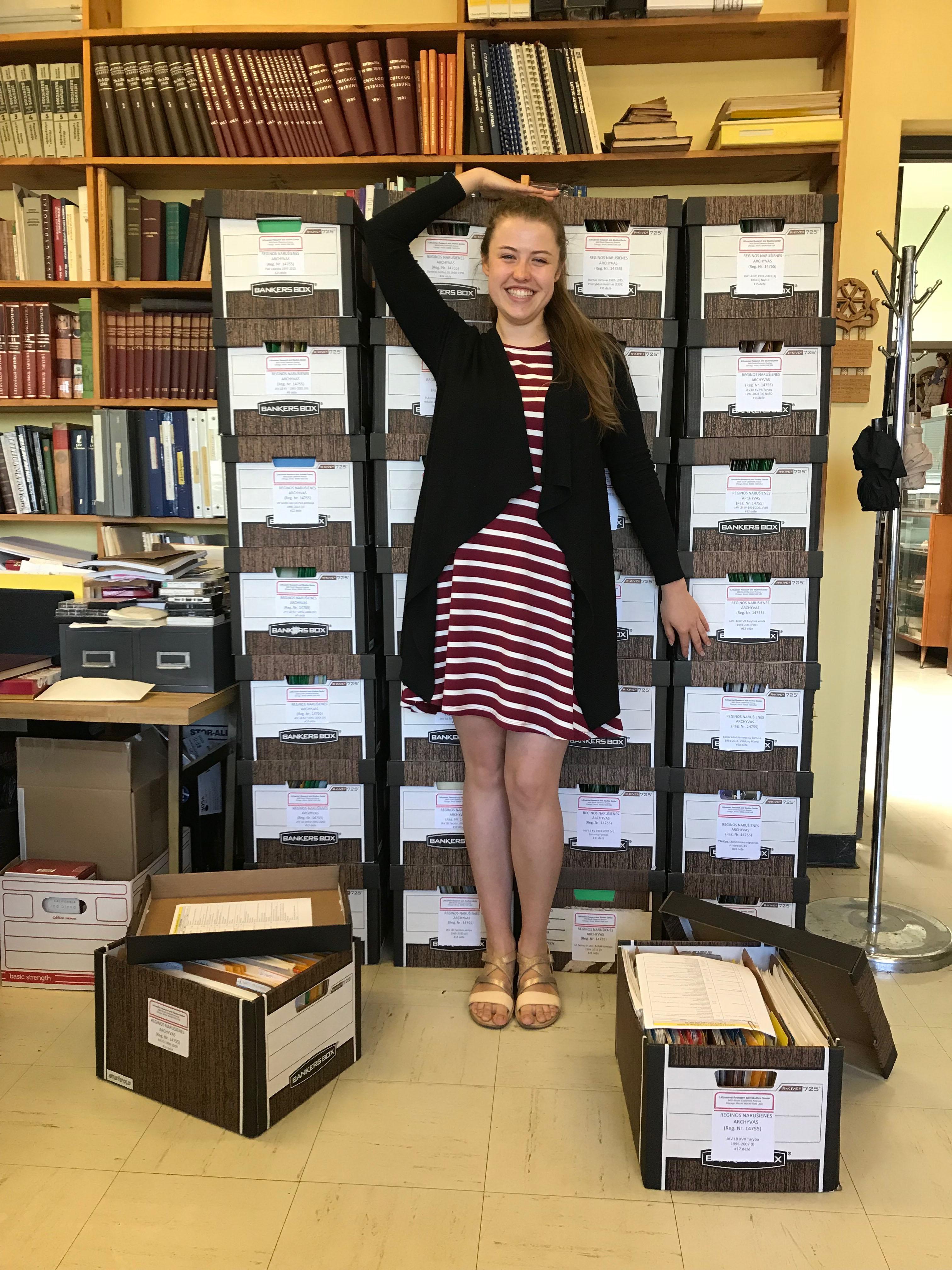 Štai kiek R. Narušienės archyvo dokumentų tvarkė Rimantė Jaugaitė – Vytauto Didžiojo universiteto istorijos programos studentė, pagal Švietimo mainų paramos fondo programą penkis mėnesius atlikusi praktiką LTSC.