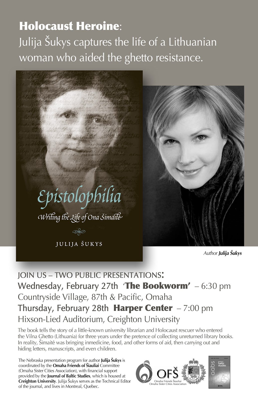 """Plakatas, kviečiantis į Julijos Šukys knygos """"Epistolophilia"""" pristatymą."""