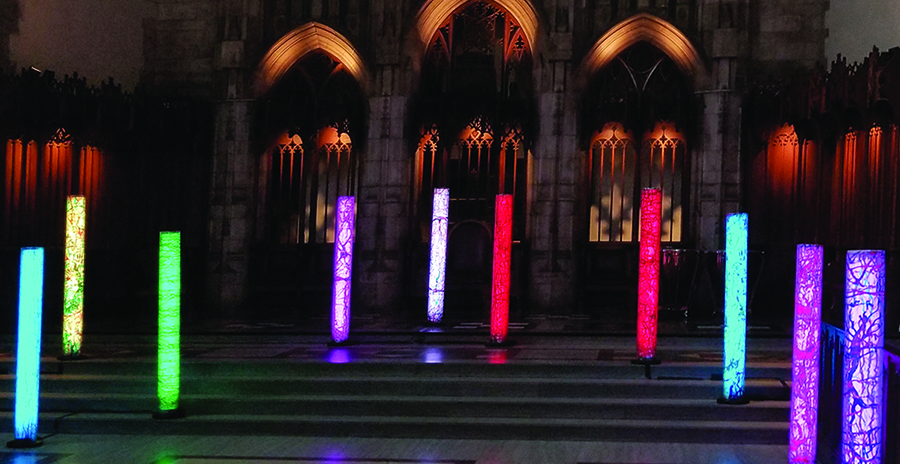"""Columns of Thought"" Rockefeller Memorial Chapel, University of Chicago, 2018 metų balandis."