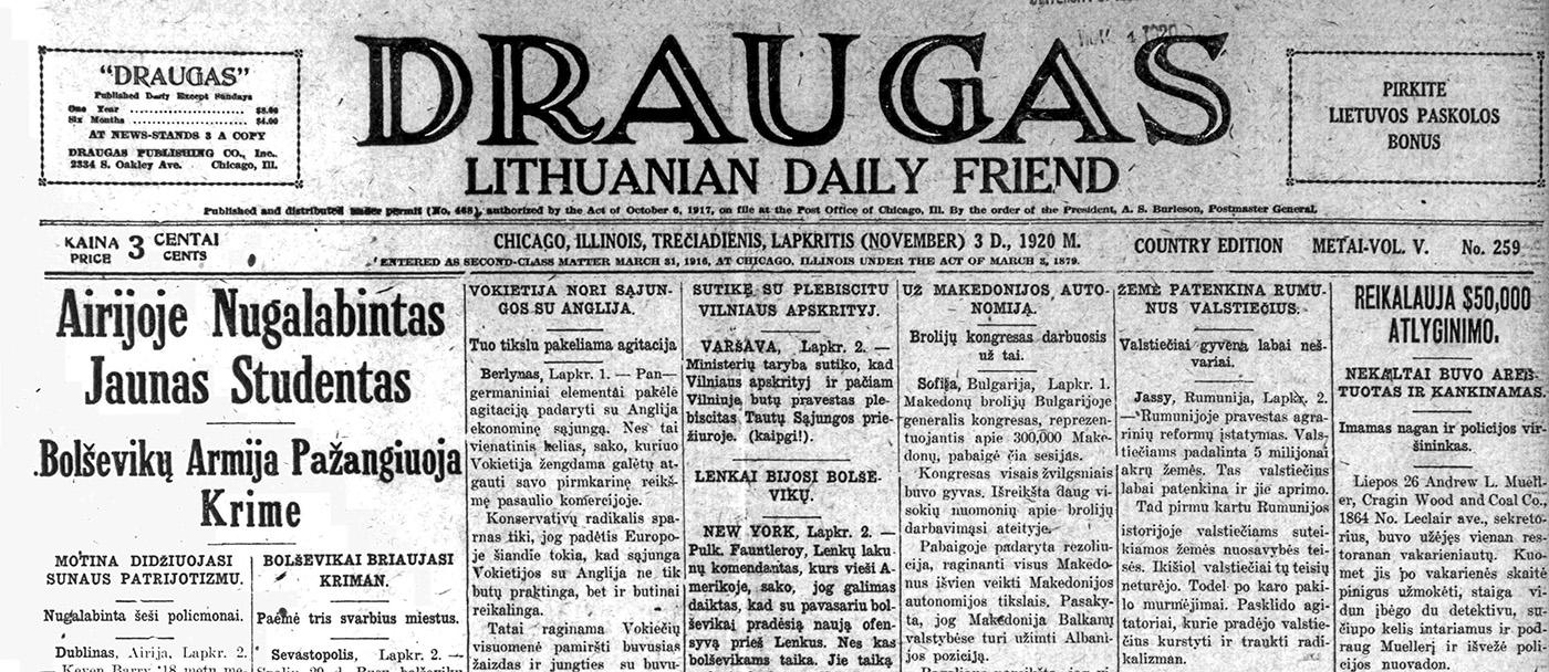 """""""Draugas"""" 1920 m."""