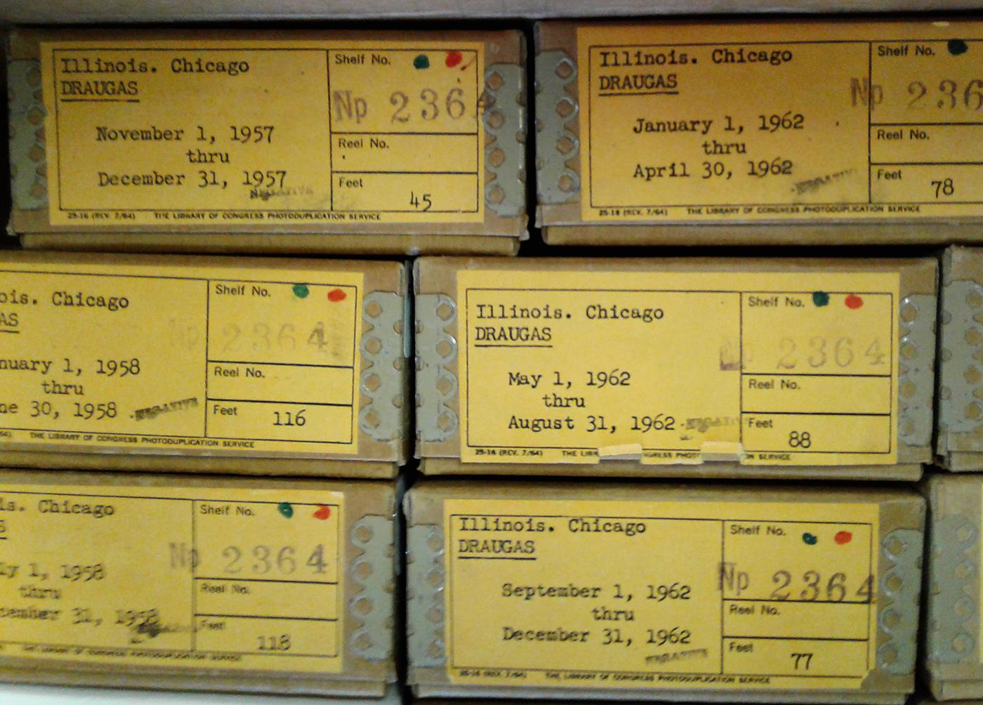 """""""Draugo"""" mikrofilmai."""