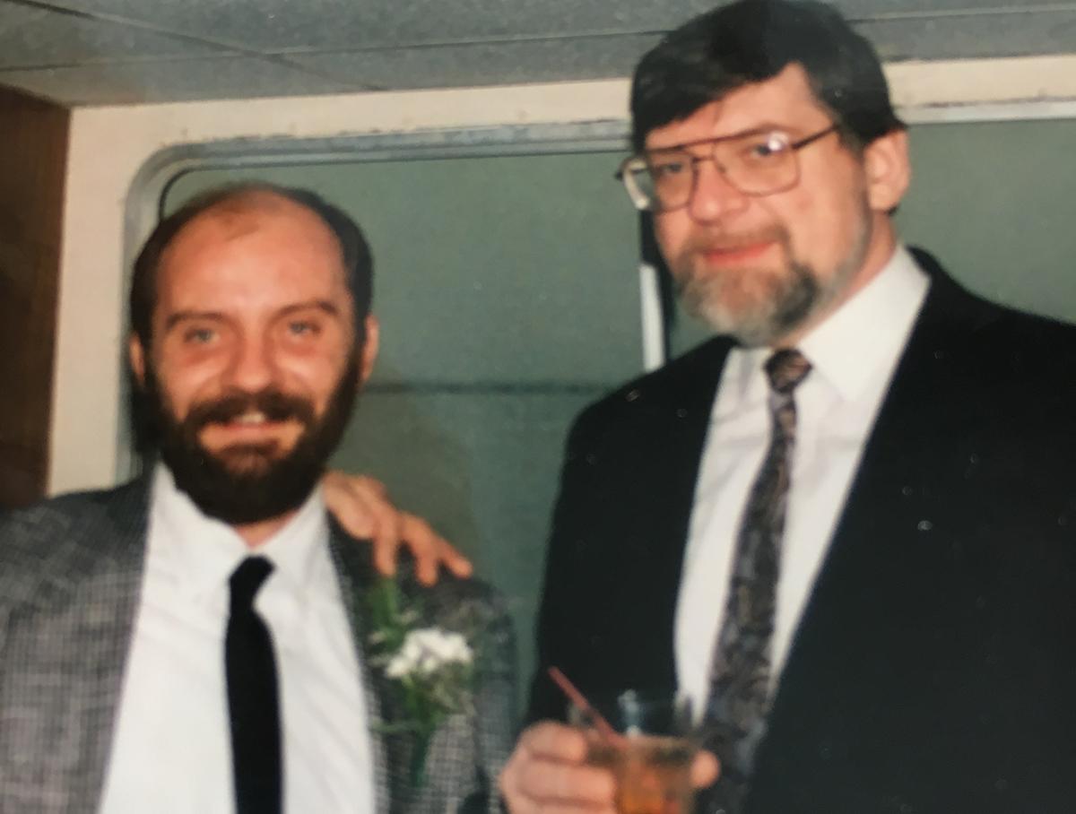 """Marijus Pakštas su savo giminaičiu žinomu, ilgamečiu """"Amerikos balso"""" žurnalistu Romu Sakadolskiu (d.)."""