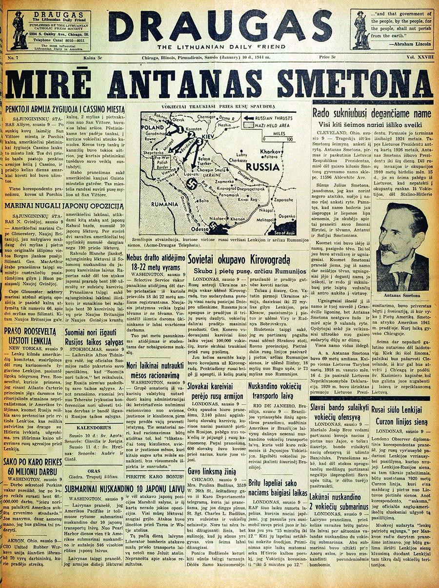 """""""Draugas"""", sausio 10 d. 1944 m."""