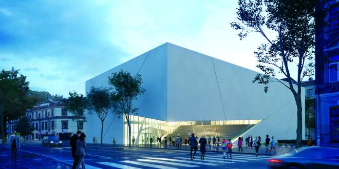 """MO pastatas, iškilęs buvusio kino teatro """"Lietuva"""" vietoje."""