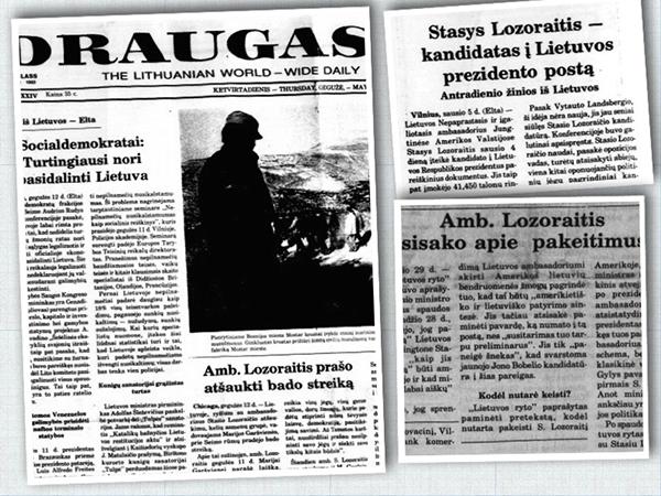 """Ambasadoriaus Stasio Lozoraičio vardas dažnai mirgėdavo """"Draugo"""" puslapiuose. (R. Kazlas koliažas)"""