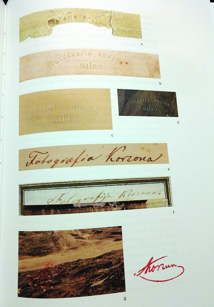 Korzono naudotų reljefinių įspaudų ir jo parašų pavyzdžiai.