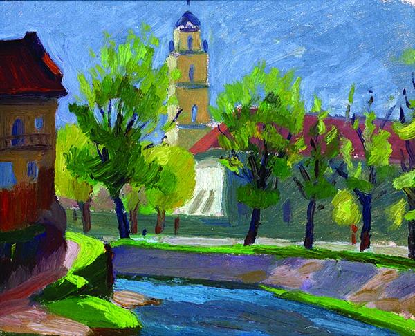 Jonas Kuzminskis (1906–1985). Vilnelė nuo Bernardinų sodo. 1943 m.