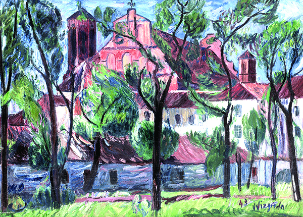 Viktoras Vizgirda. Bernardinų bažnyčia nuo Vilnelės. 1943 m.