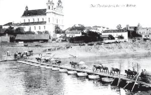 German military colum crosses a pontoon bridge over the Neris River in Vinius