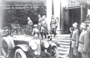 Kaiser Wilhelm II and Army Commander General H. von Eichhorn visit Vilnius Cathedral