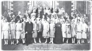 The church choir of St. Joseph Lithuanian Parish in Mahanoy City, Pennsylvania, (1926 photograph.)